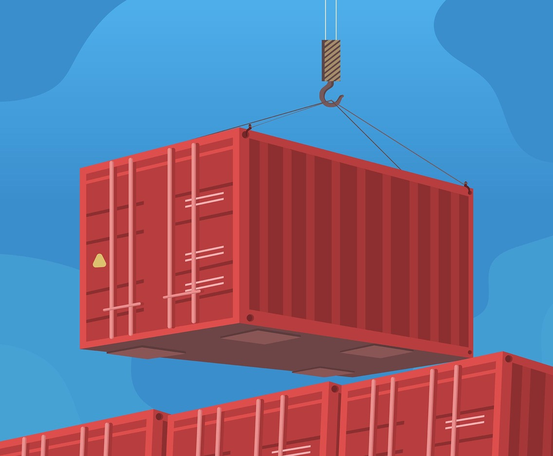 Red Container Logistics Vector
