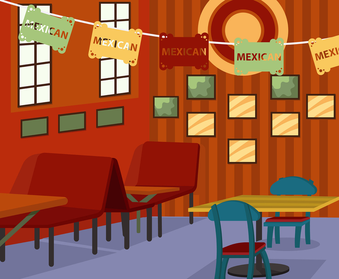 Mexican Cantina With Striped Wallpaper Vector