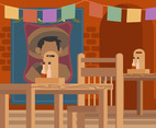 Mexican Cantina With Poster Vector
