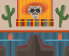 Mexican Cantina With Booth Tables Vector