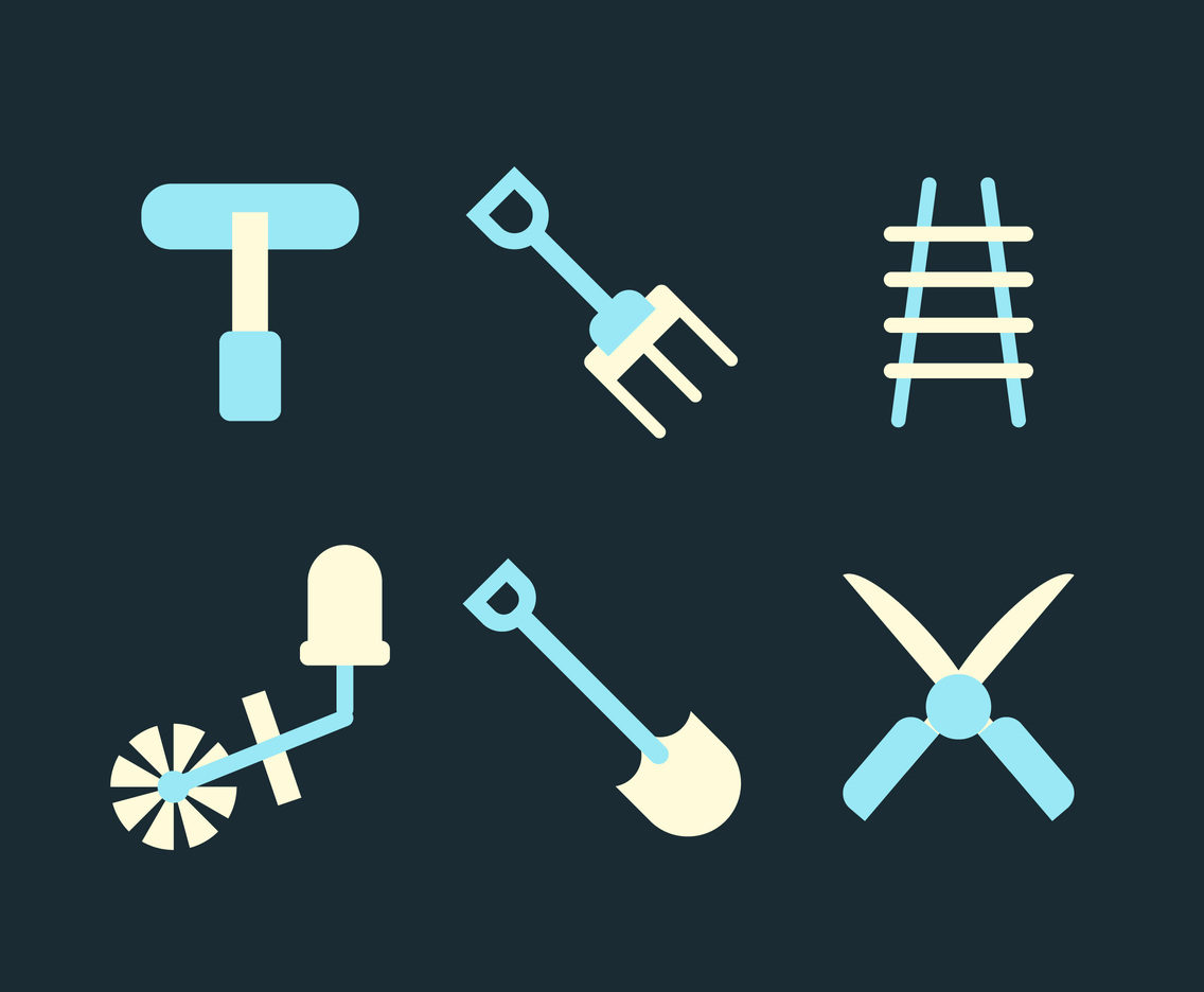Ladder and Gardening Equipment Vector