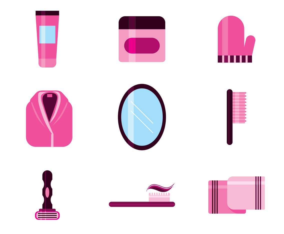 Pink Bathrobe Set Vector