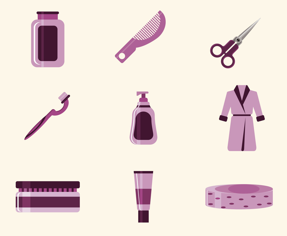 Pink Bathroom Icon Set Vector