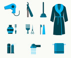 Blue Bathroom Icon Set Vector