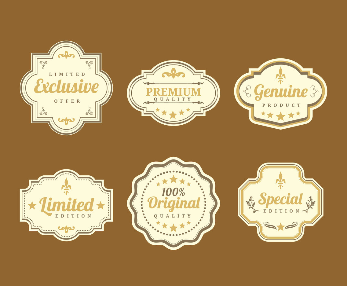 Stylish Vintage Labels Vector