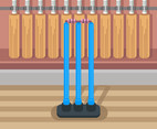 Blue Cricket Stumps Vector