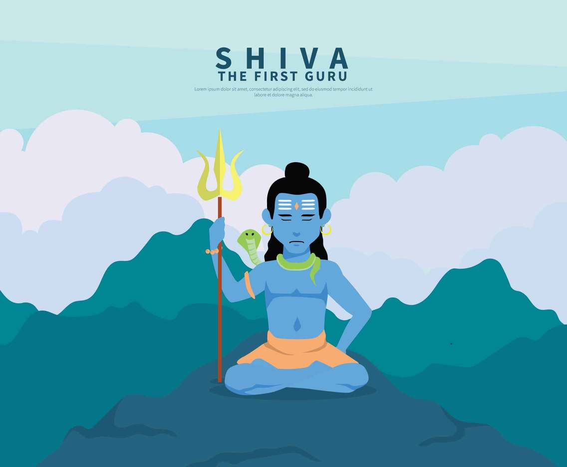 Shiva God In Medition Pose Illustration