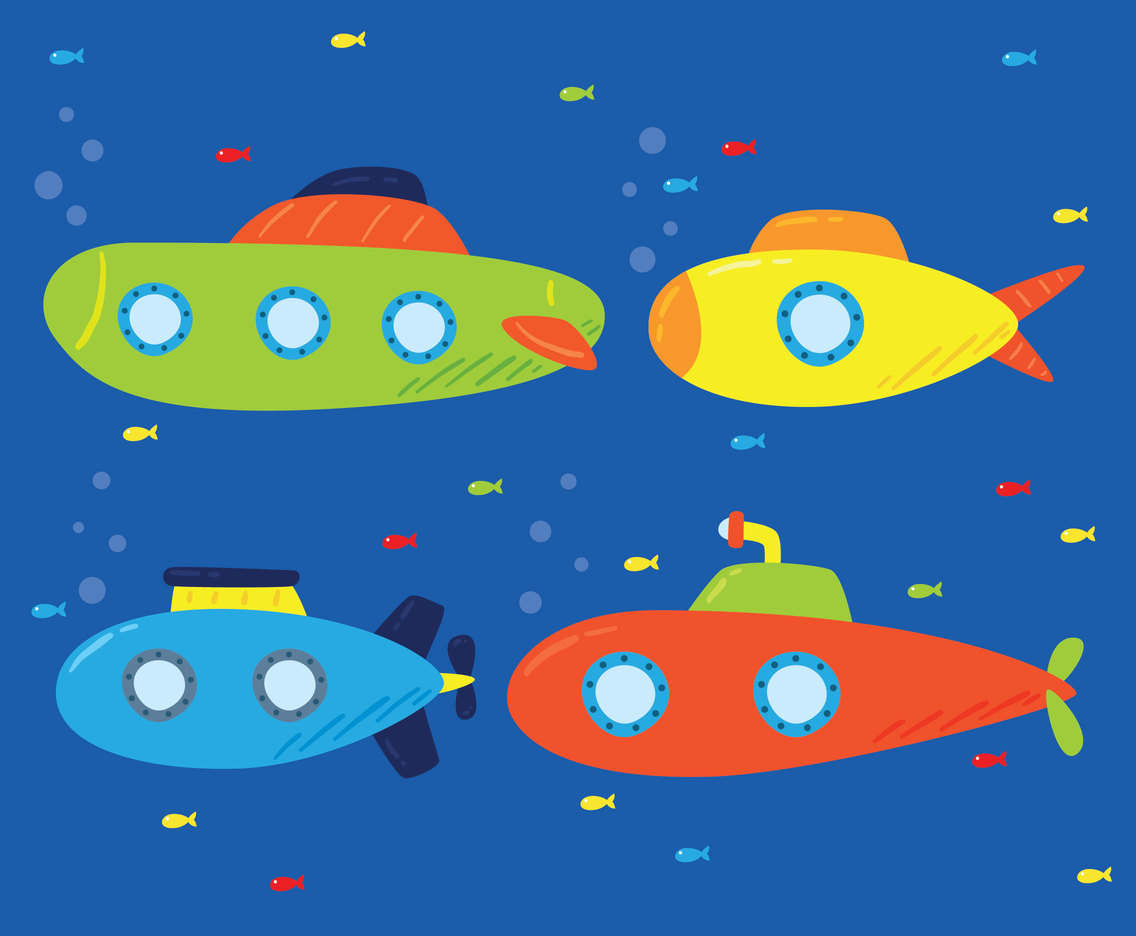 Colorful Submarines Vector