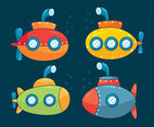 Cartoon Submarines Vector