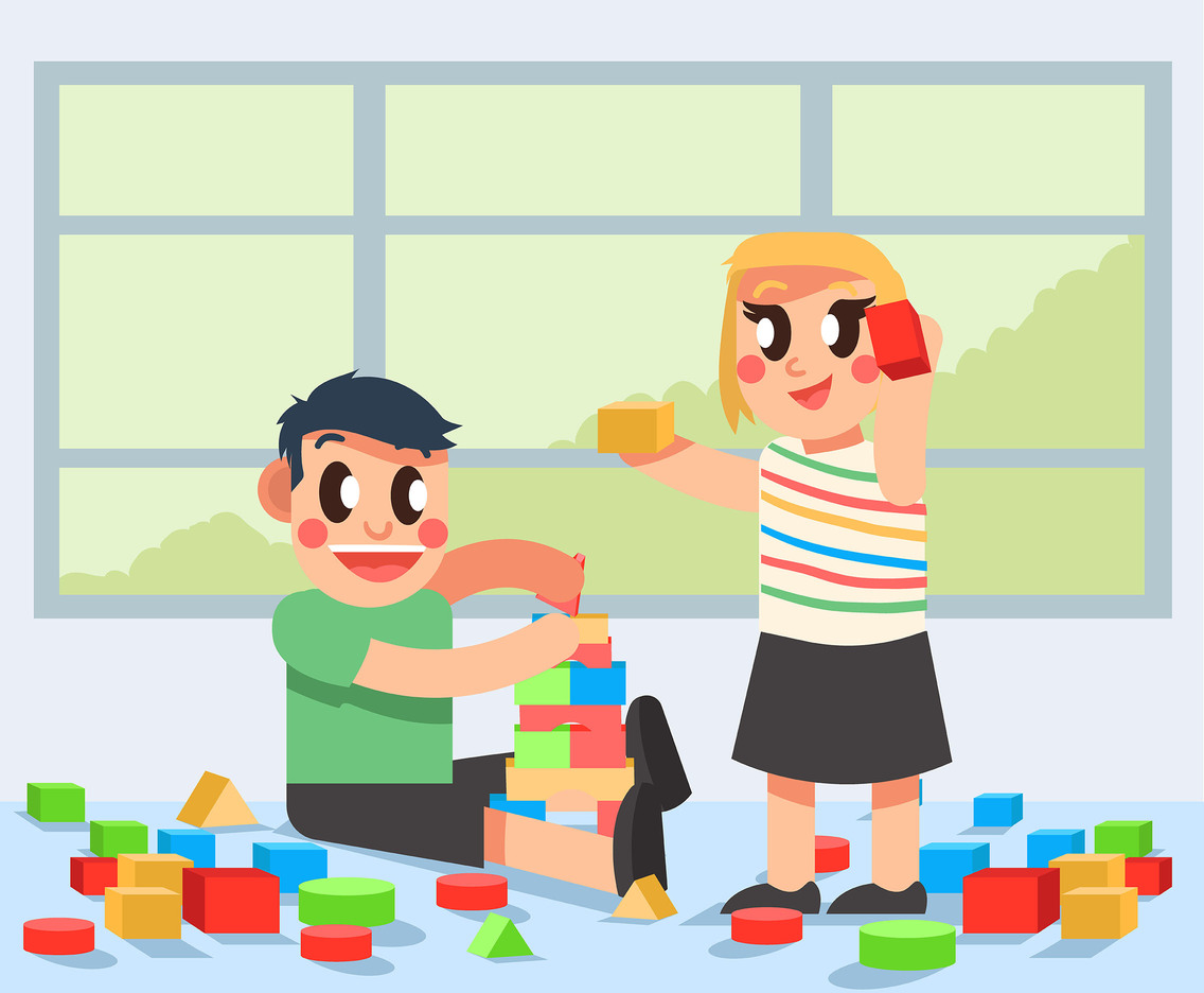 Happy Kids With Toys Vector