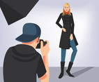 Fashion Model Photo Shoot Vector