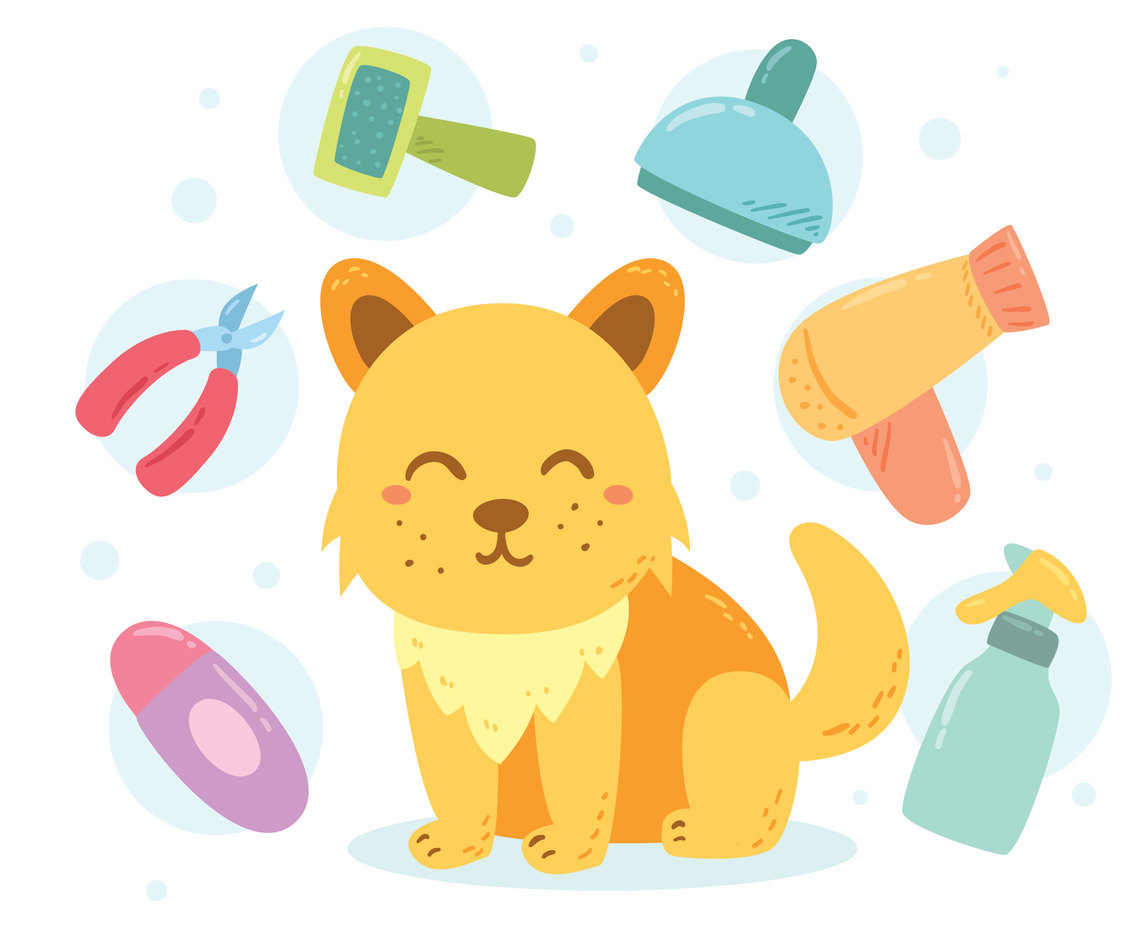Cute Dog Grooming Vector