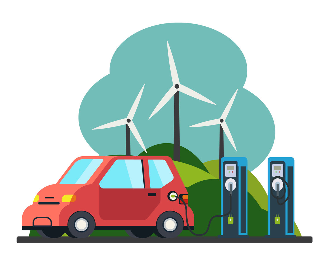 Wind Energy Charging Station Vector