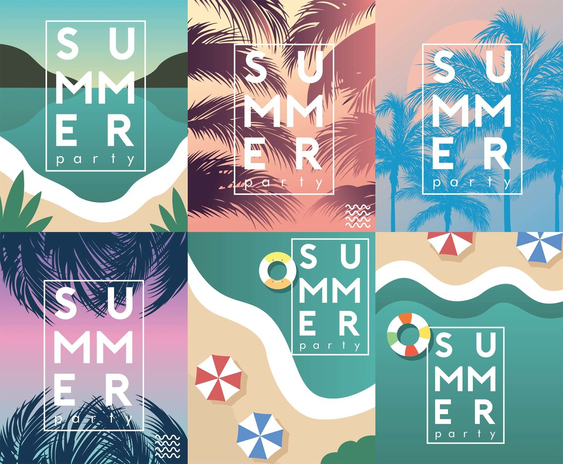Summer Party Flyer Vector Pack
