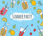 Hand Drawn Summer Party Drinks Vector