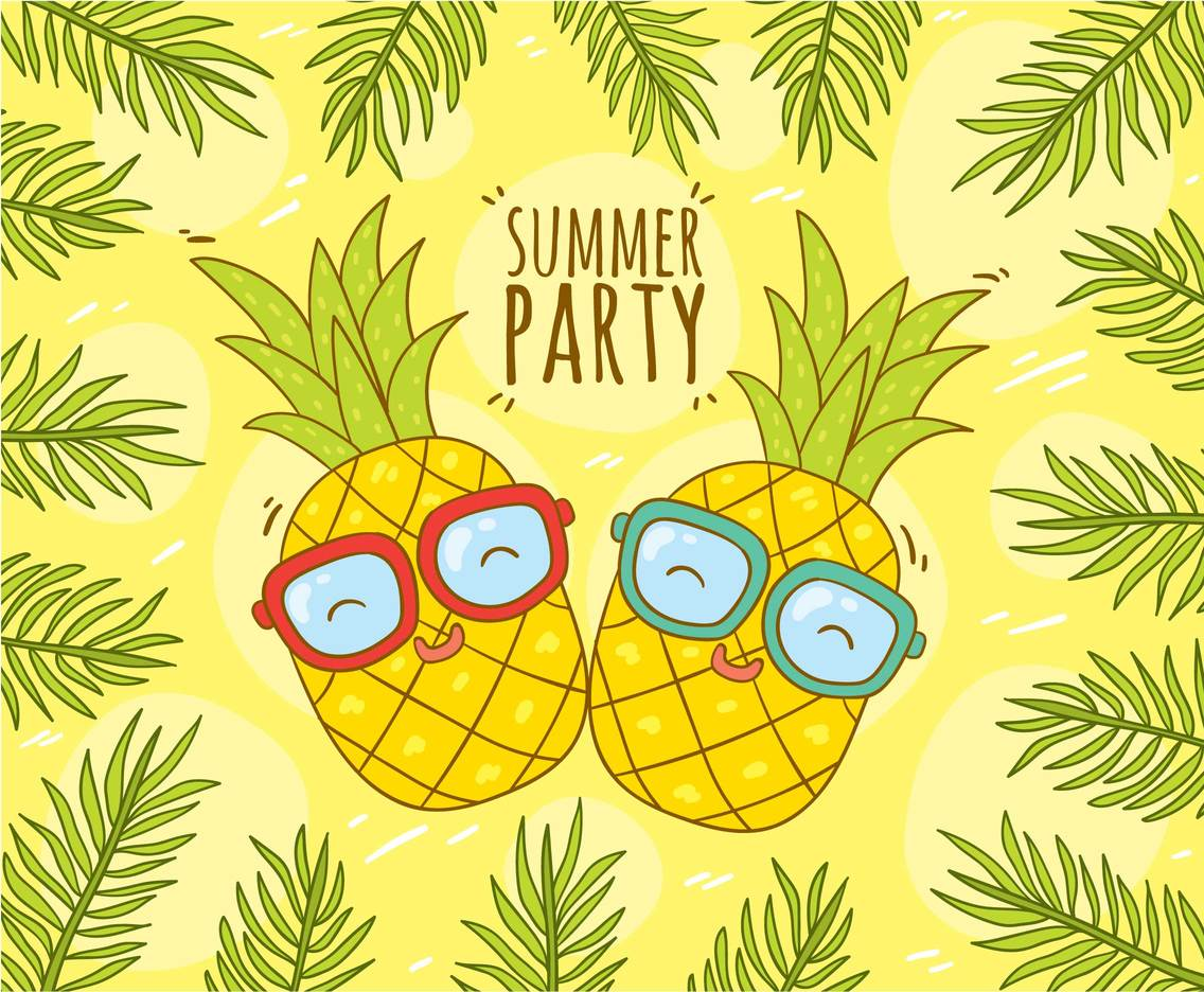 Duo Pineapples Summer Party Vector
