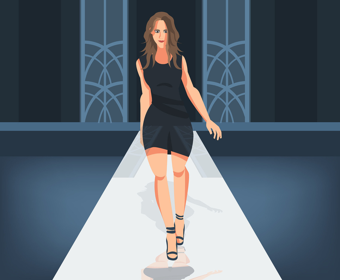 Fashion Model on Catwalk Vector