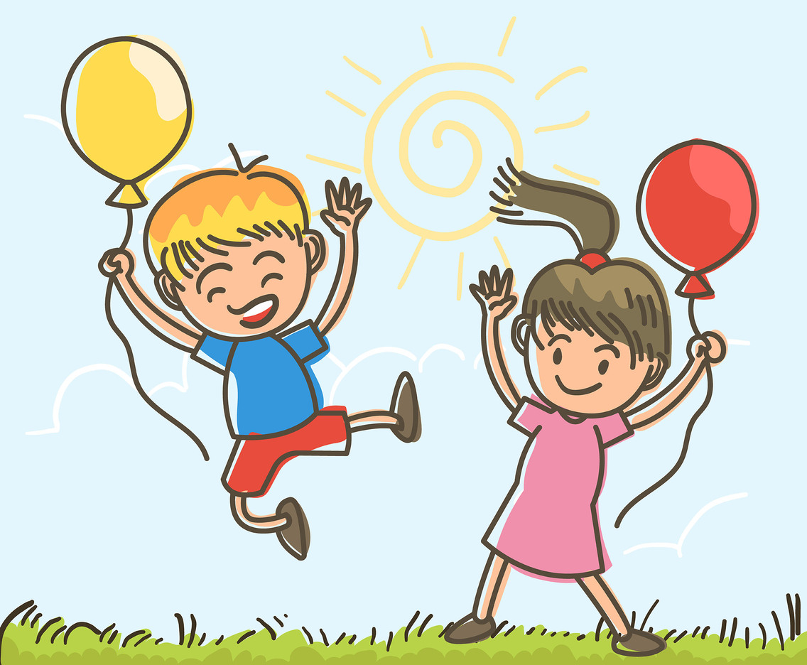 Happy Kids With Balloons Vector
