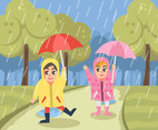Happy Kids With Rain Vector