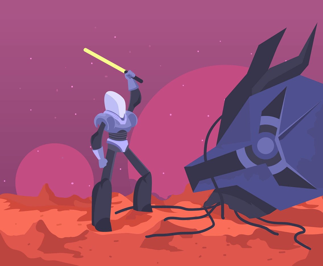 Outer Space Knight With Sword Vector
