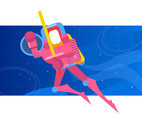 Pink Outer Space Knight Vector