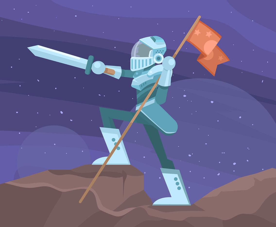 Outer Space Knight With Flag Vector