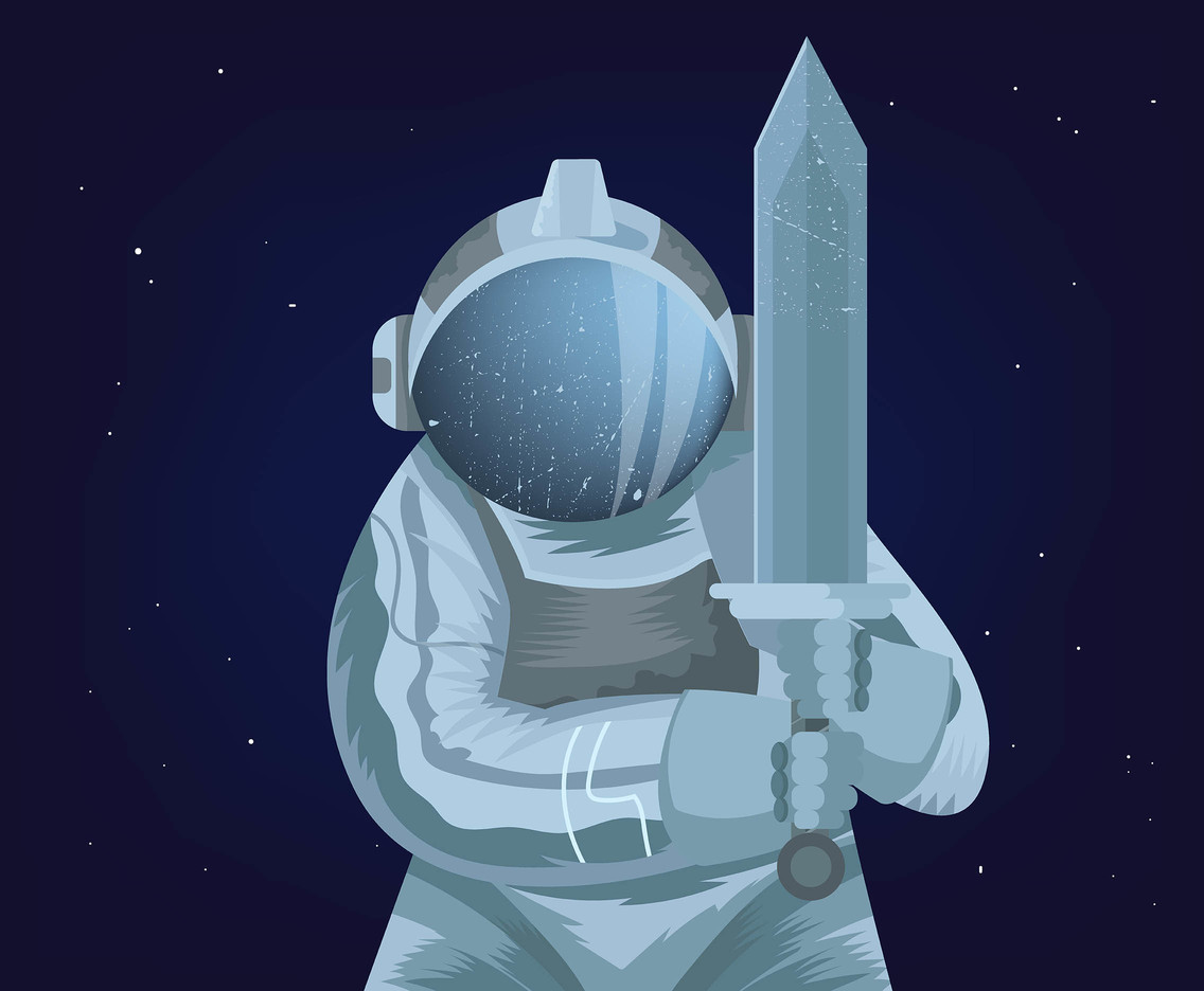 White Outer Space Knight Vector