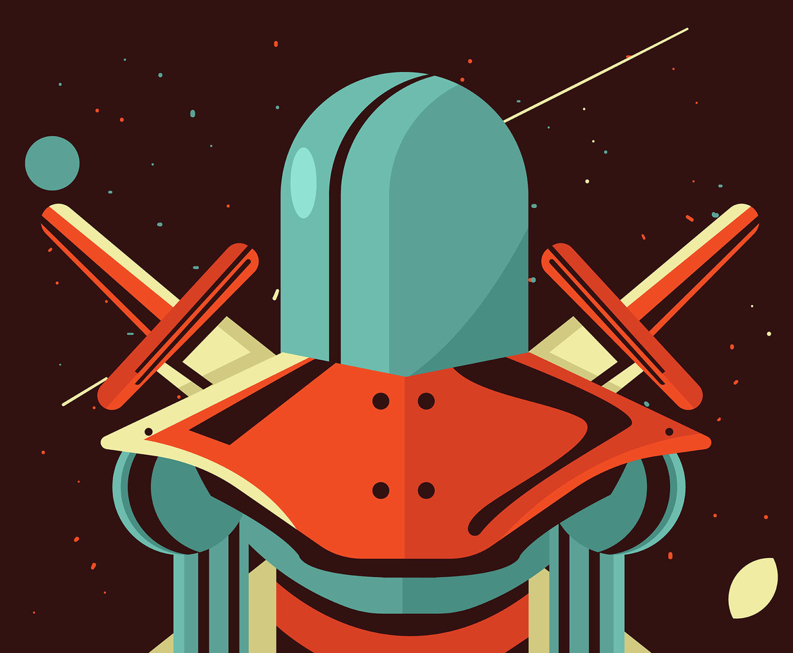 Outer Space Knight Vector in Retro Style