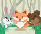 Three Baby Animals Vector