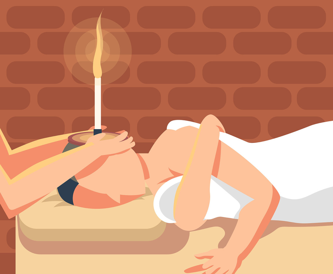 Ear Candle Therapy Vector