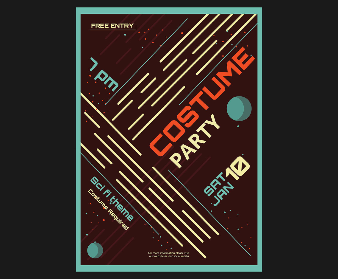 Costume Party Flyer Vector