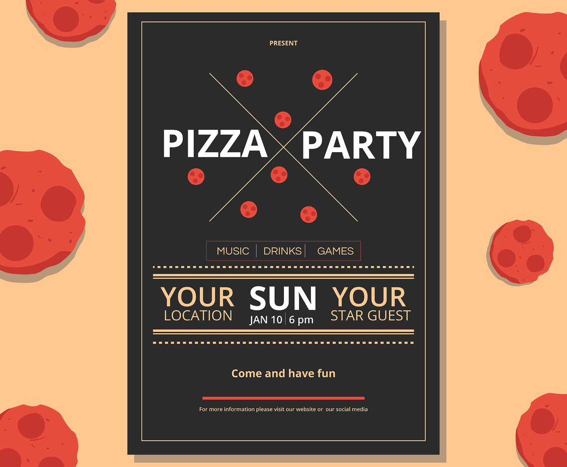 Pizza Party Flyer Vector Vector Art Graphics Freevector