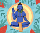 Shiva God Raising Hand Vector