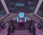 Purple Spaceship Cockpit Vector