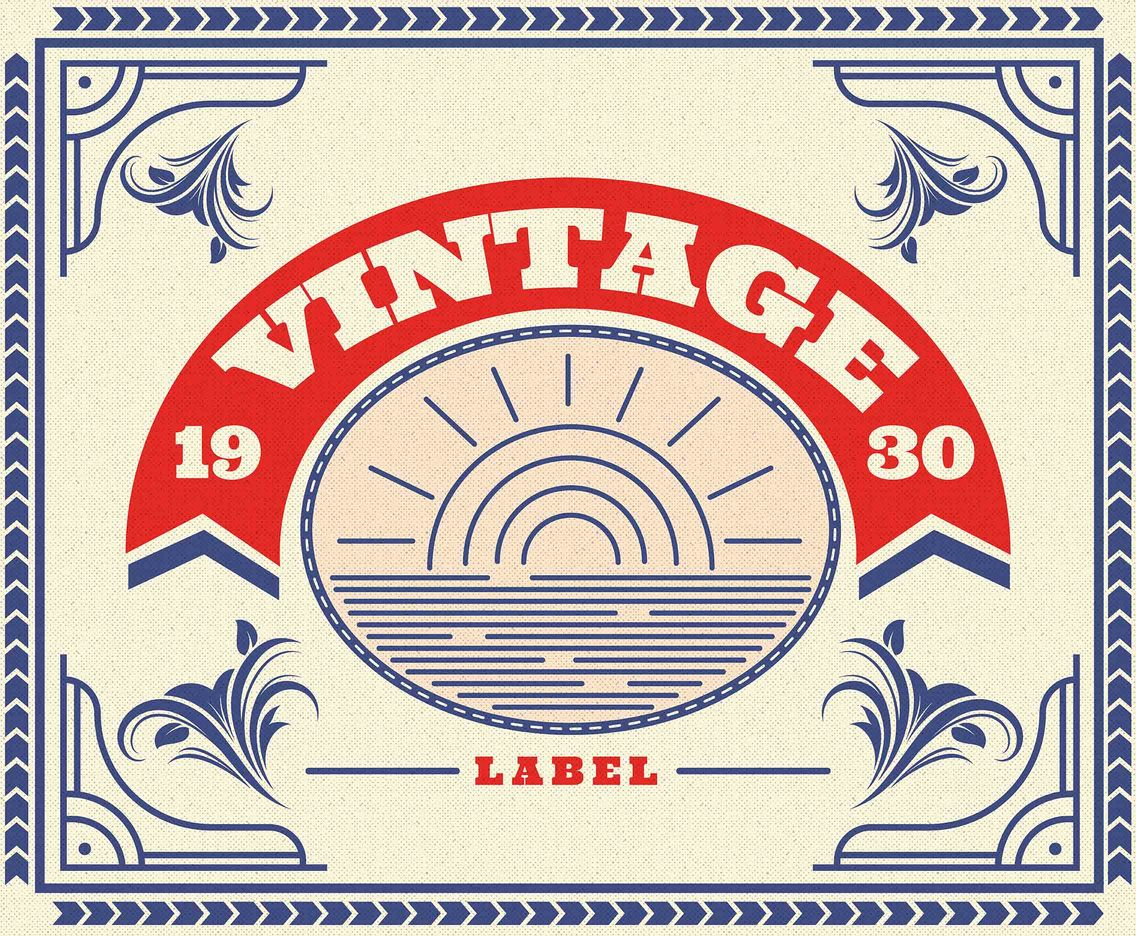 Vintage Labels Year 1930 Vector