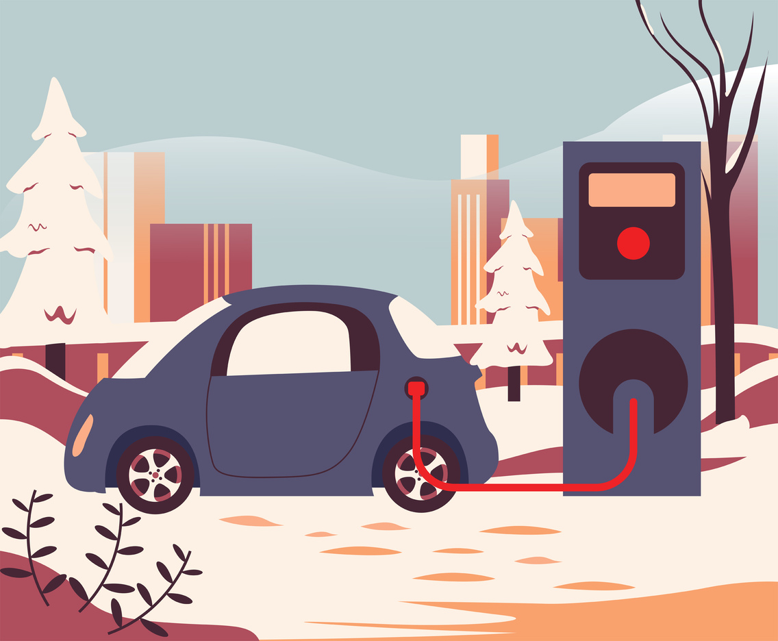 Electric Car Charging Station Vector Design
