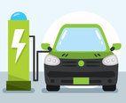 Green Car Charging Station Vector