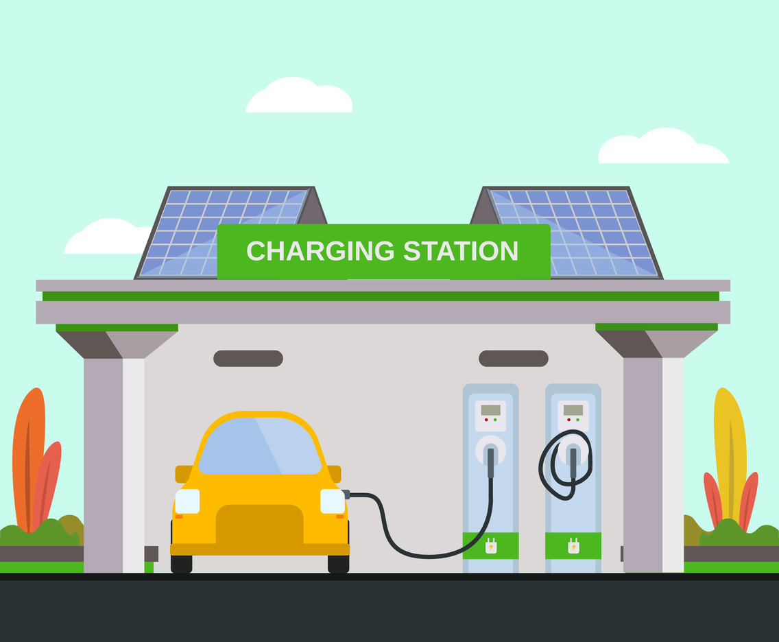 Solar Energy Car Charger Vector