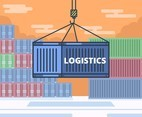 Blue Container Logistics Vector