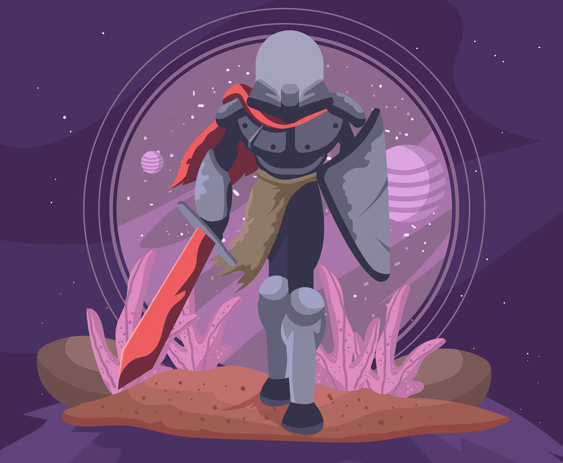 Outer Space Knight With Shield Vector