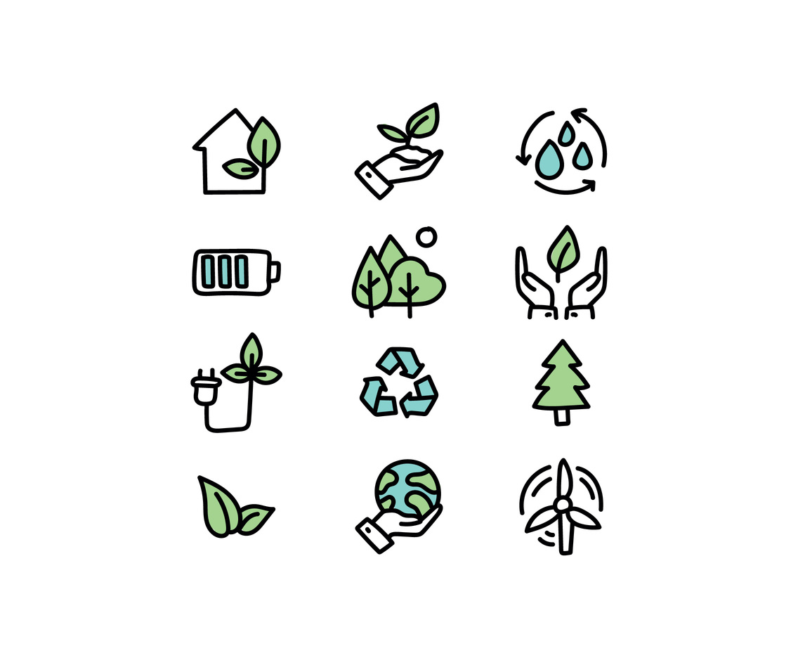 Doodled Green Energy Icons