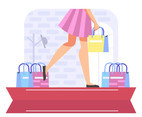 Fashion Background Vector With Shopping Bags