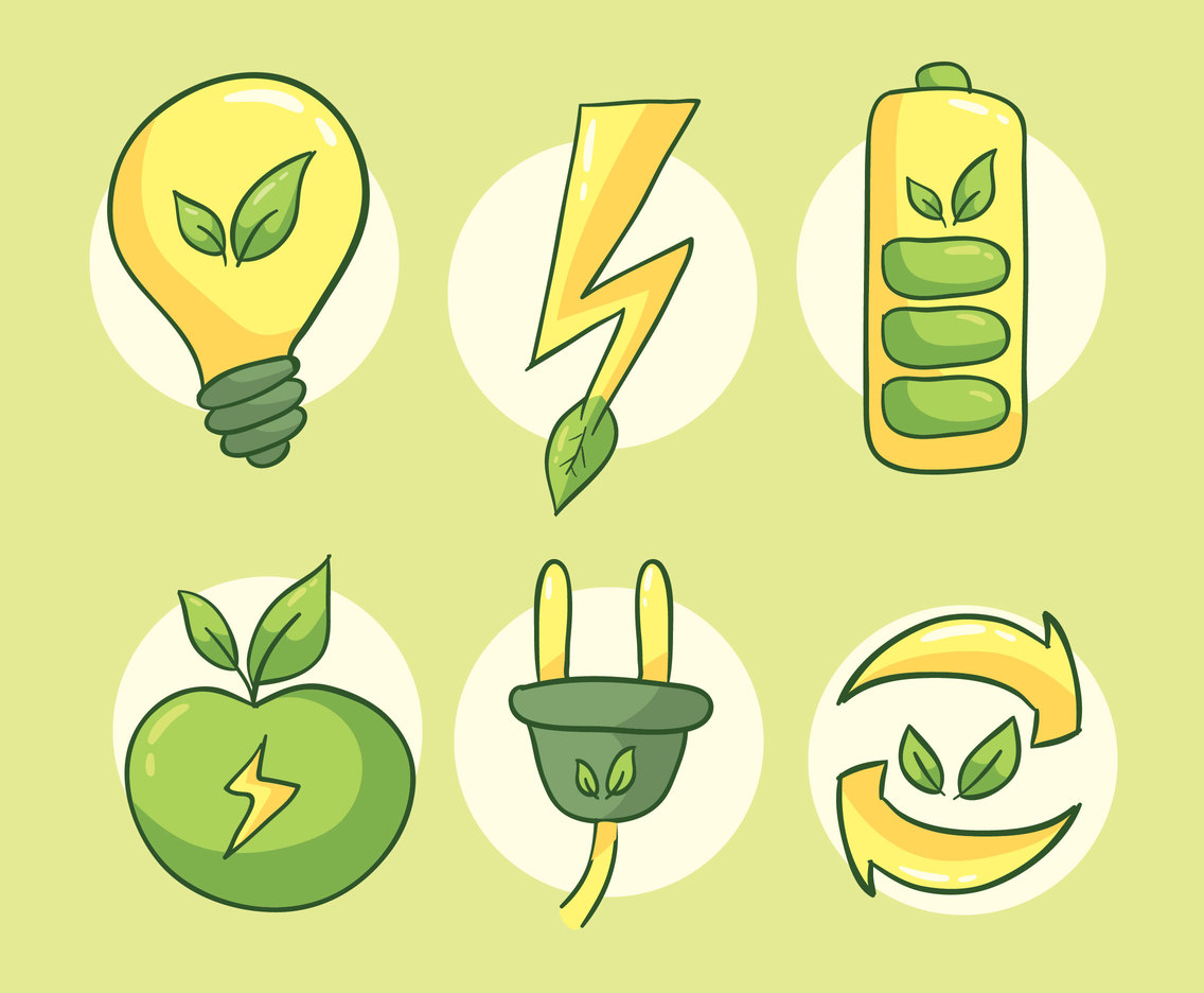 Hand Drawn Green Energy Vector