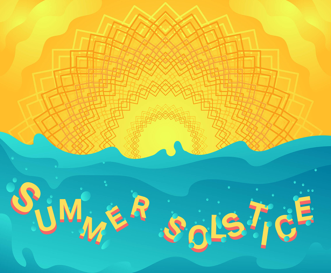 Summer Solstice Vector With Sea
