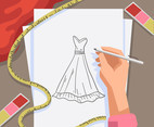 Fashion Background Gown Sketch Vector