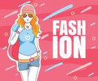 Girl Pink Fashion Background Vector