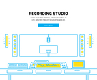 Recording Room Line Art Illustration