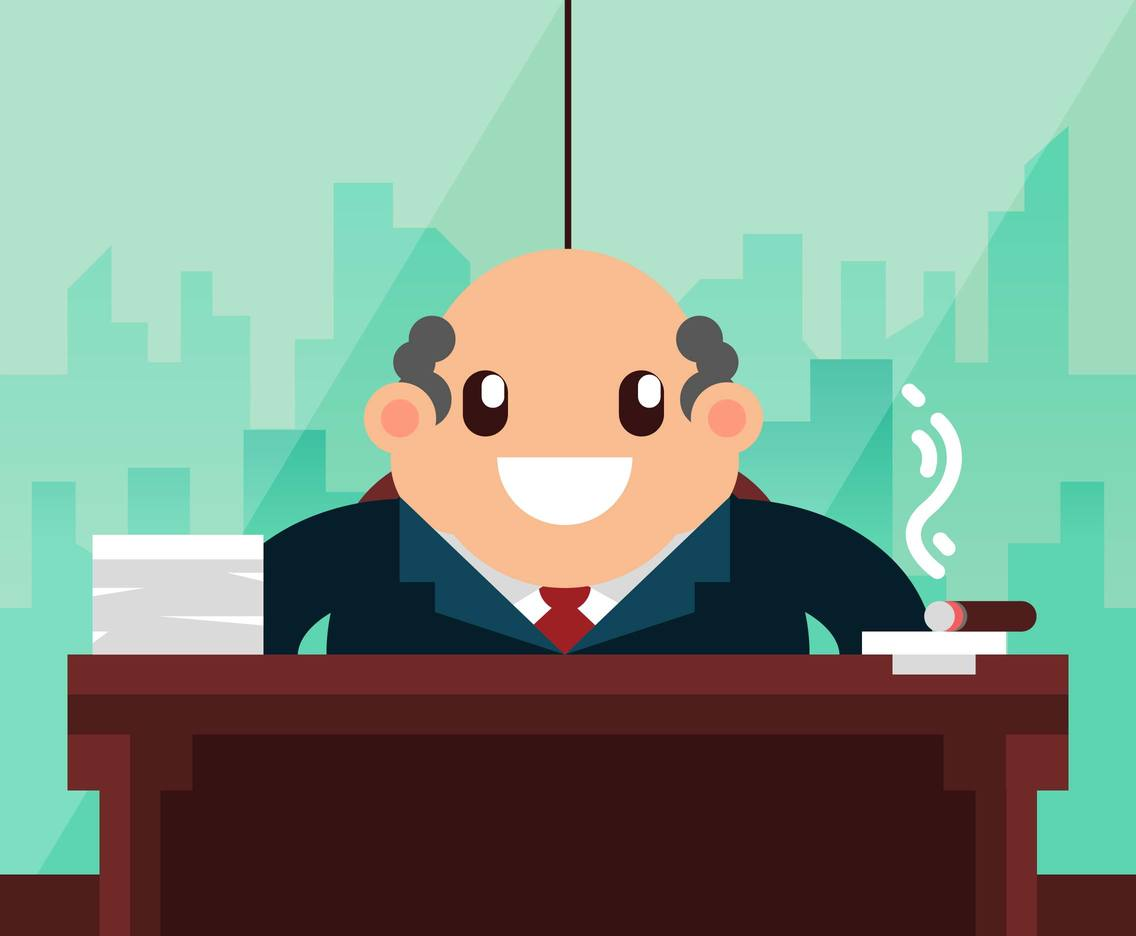 Business Man Office Flat Illustration Vector