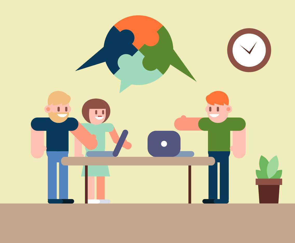 Teamwork Office Flat Illustration Vector