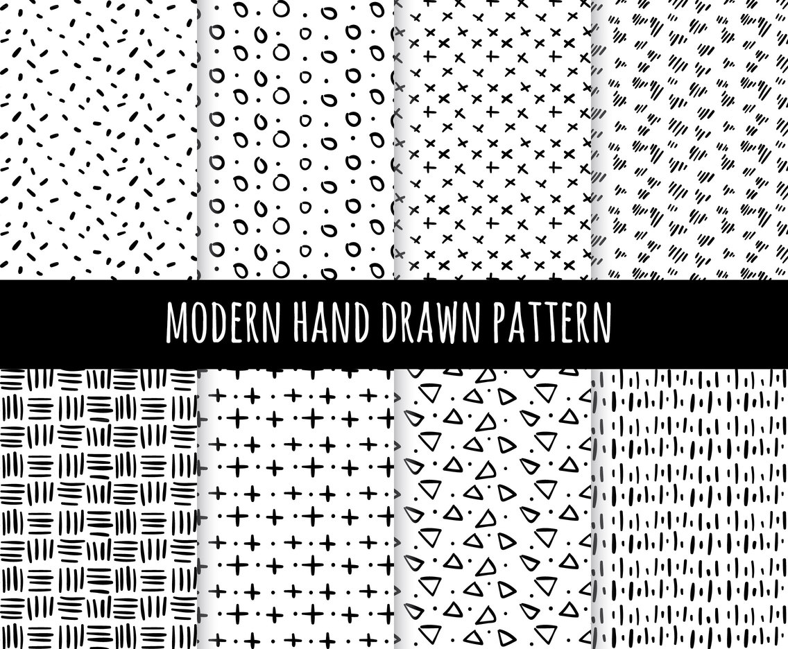 Modern Hand Drawn Pattern Collection Vector